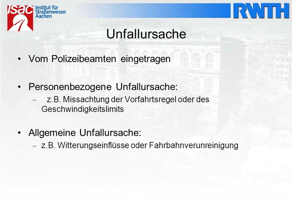 Unfallursache Vom Polizeibeamten eingetragen Personenbezogene Unfallursache:  z.B. Missachtung der Vorfahrtsregel oder des Geschwindigkeitslimits All