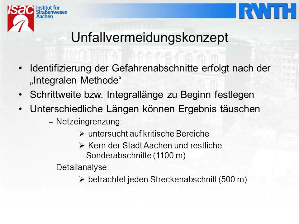"""Unfallvermeidungskonzept Identifizierung der Gefahrenabschnitte erfolgt nach der """"Integralen Methode"""" Schrittweite bzw. Integrallänge zu Beginn festle"""