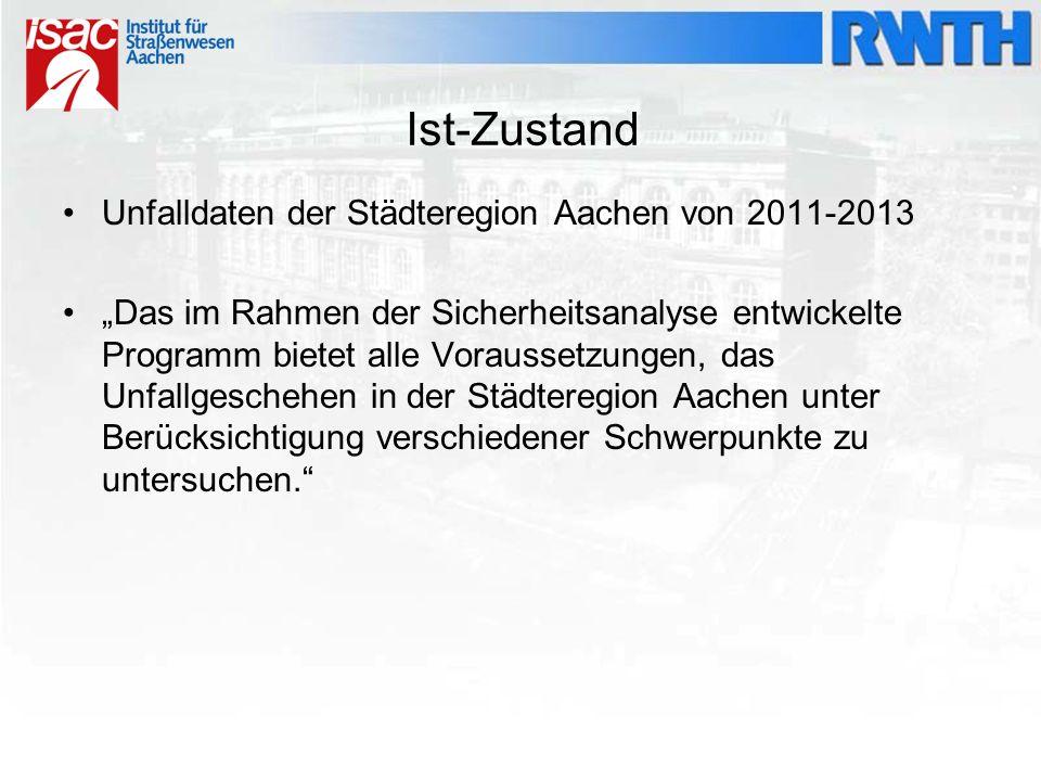 """Ist-Zustand Unfalldaten der Städteregion Aachen von 2011-2013 """"Das im Rahmen der Sicherheitsanalyse entwickelte Programm bietet alle Voraussetzungen,"""
