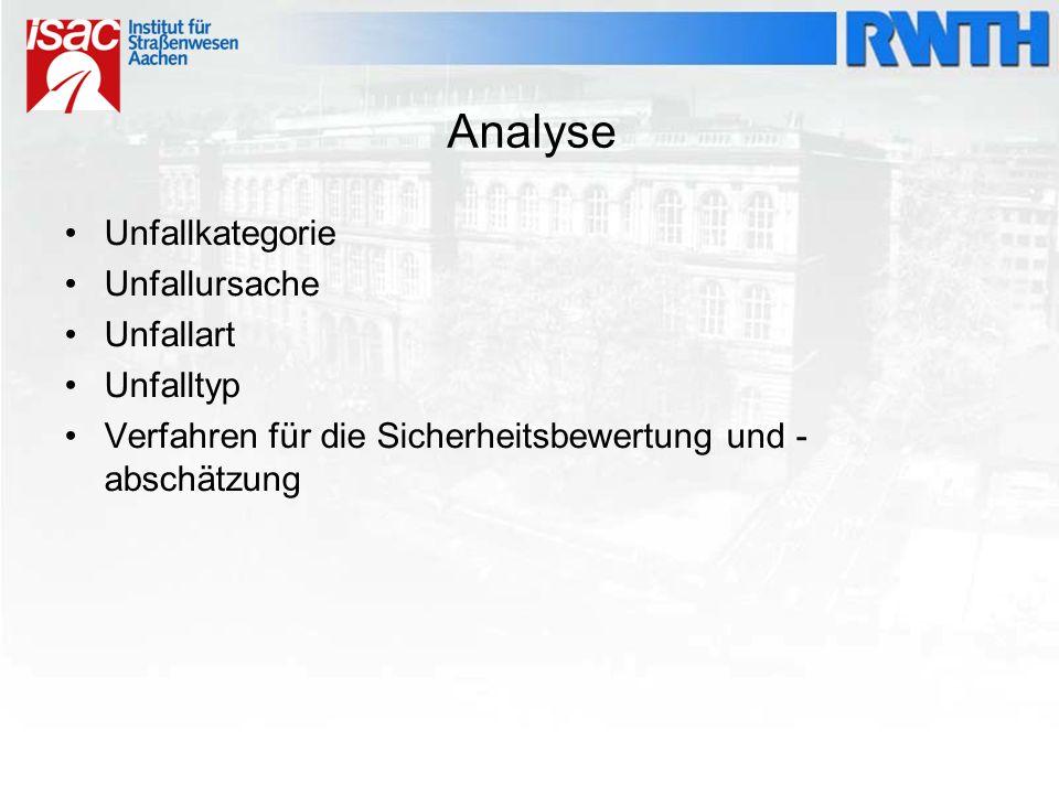 Analyse Unfallkategorie Unfallursache Unfallart Unfalltyp Verfahren für die Sicherheitsbewertung und - abschätzung
