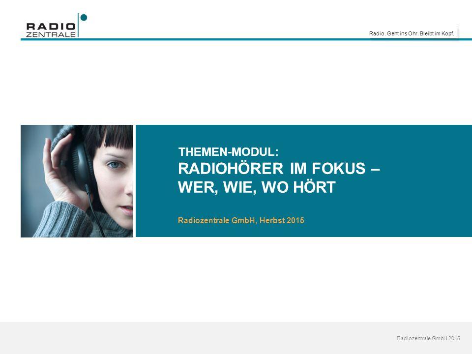 Radio. Geht ins Ohr. Bleibt im Kopf. Radiozentrale GmbH 2015 THEMEN-MODUL: RADIOHÖRER IM FOKUS – WER, WIE, WO HÖRT Radiozentrale GmbH, Herbst 2015