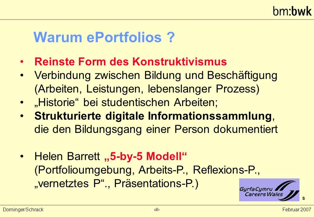 Dorninger/Schrack‹#›Februar 2007 Warum ePortfolios ? Reinste Form des Konstruktivismus Verbindung zwischen Bildung und Beschäftigung (Arbeiten, Leistu