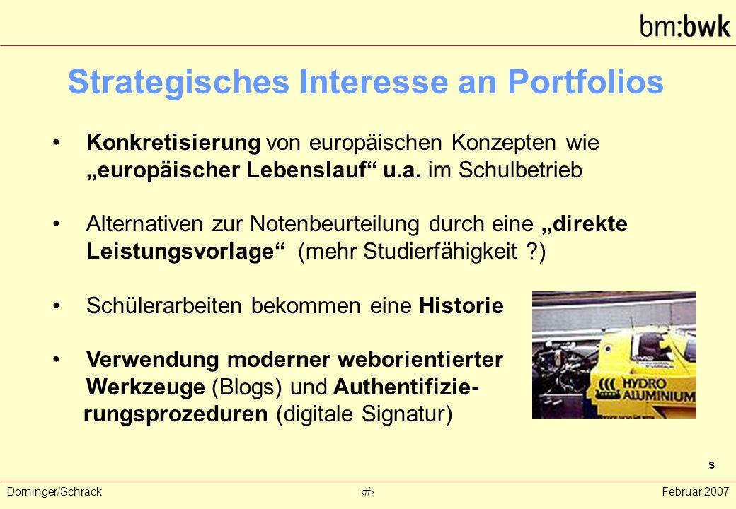 """Dorninger/Schrack‹#›Februar 2007 Strategisches Interesse an Portfolios Konkretisierung von europäischen Konzepten wie """"europäischer Lebenslauf u.a."""