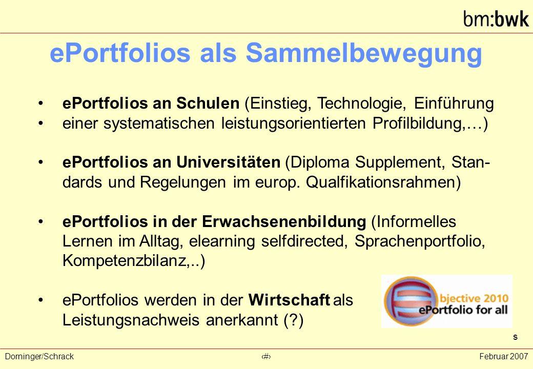 Dorninger/Schrack‹#›Februar 2007 ePortfolios als Sammelbewegung ePortfolios an Schulen (Einstieg, Technologie, Einführung einer systematischen leistun