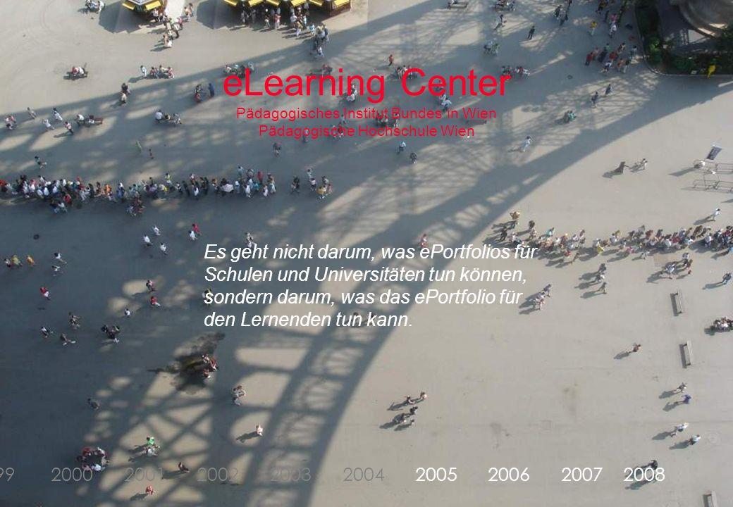Dorninger/Schrack‹#›Februar 2007 1998 1999 2000 2001 2002 2003 2004 2005 2006 2007 2008 eLearning Center Pädagogisches Institut Bundes in Wien Pädagogische Hochschule Wien Es geht nicht darum, was ePortfolios für Schulen und Universitäten tun können, sondern darum, was das ePortfolio für den Lernenden tun kann.
