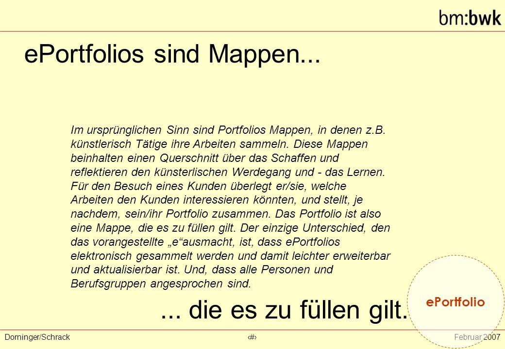Dorninger/Schrack‹#›Februar 2007 ePortfolios sind Mappen... ePortfolio Im ursprünglichen Sinn sind Portfolios Mappen, in denen z.B. künstlerisch Tätig
