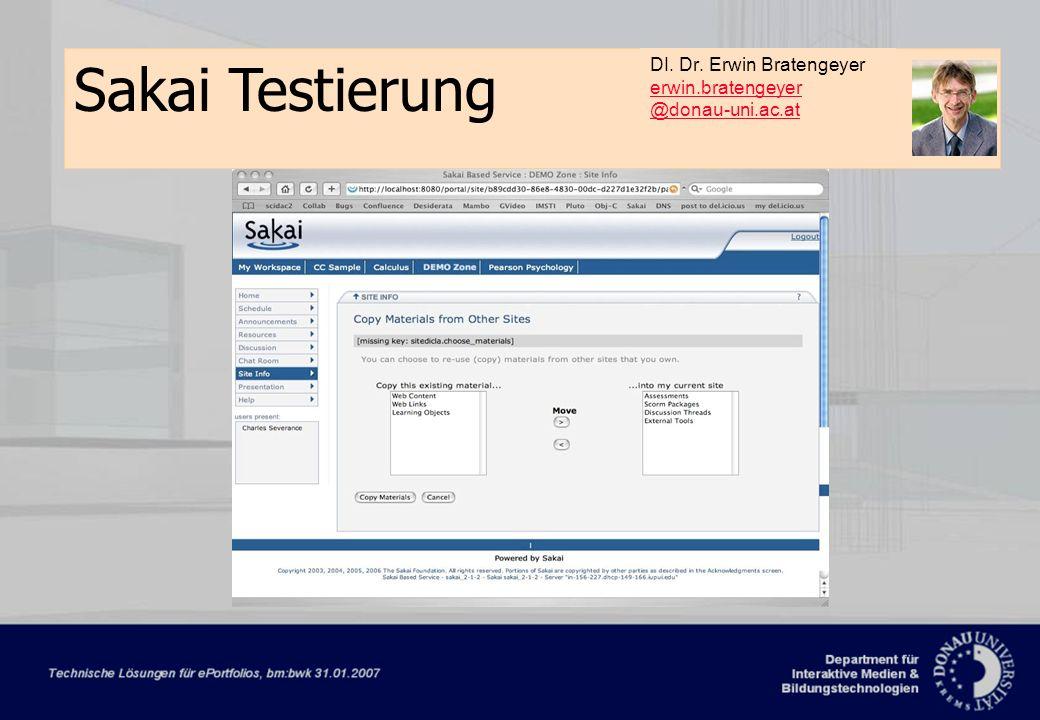 Dorninger/Schrack‹#›Februar 2007 Sakai Testierung DI.