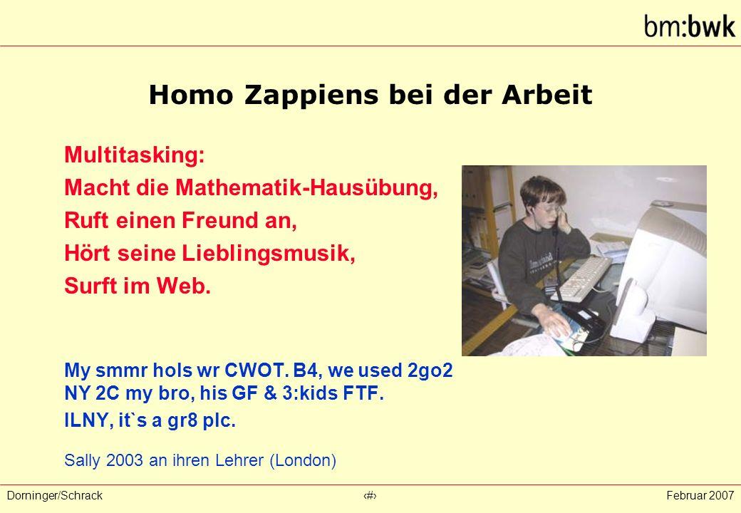 Dorninger/Schrack‹#›Februar 2007 Homo Zappiens bei der Arbeit Multitasking: Macht die Mathematik-Hausübung, Ruft einen Freund an, Hört seine Lieblingsmusik, Surft im Web.