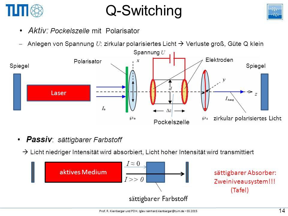Q-Switching Aktiv: Pockelszelle mit Polarisator Laser Pockelszelle Spiegel Elektroden Spannung U zirkular polarisiertes Licht Polarisator  Anlegen von Spannung U : zirkular polarisiertes Licht  Verluste groß, Güte Q klein Passiv : sättigbarer Farbstoff aktives Medium sättigbarer Farbstoff I ≈ 0 I >> 0  Licht niedriger Intensität wird absorbiert, Licht hoher Intensität wird transmittiert 14 sättigbarer Absorber: Zweiniveausystem!!.