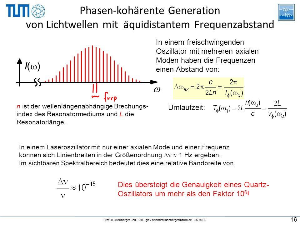  n1 r + 1 CE x2 2( n1 r + 1 C E ) 2n1 r + 1 CE n1 r + 1 CE x2 2( n1 r + 1 C E ) 2n1 r + 1 CE I()I() Phasen-kohärente Generation von Lichtwellen mit äquidistantem Frequenzabstand In einem freischwingenden Oszillator mit mehreren axialen Moden haben die Frequenzen einen Abstand von: Umlaufzeit: n ist der wellenlängenabhängige Brechungs- index des Resonatormediums und L die Resonatorlänge.