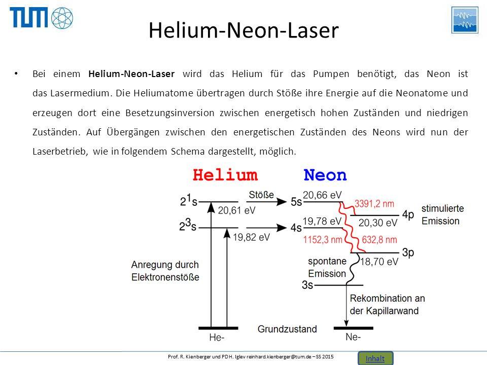 Helium-Neon-Laser Bei einem Helium-Neon-Laser wird das Helium für das Pumpen benötigt, das Neon ist das Lasermedium. Die Heliumatome übertragen durch