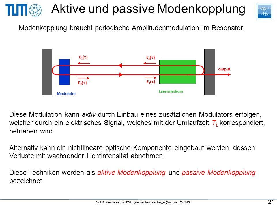 Aktive und passive Modenkopplung Diese Modulation kann aktiv durch Einbau eines zusätzlichen Modulators erfolgen, welcher durch ein elektrisches Signal, welches mit der Umlaufzeit T L korrespondiert, betrieben wird.