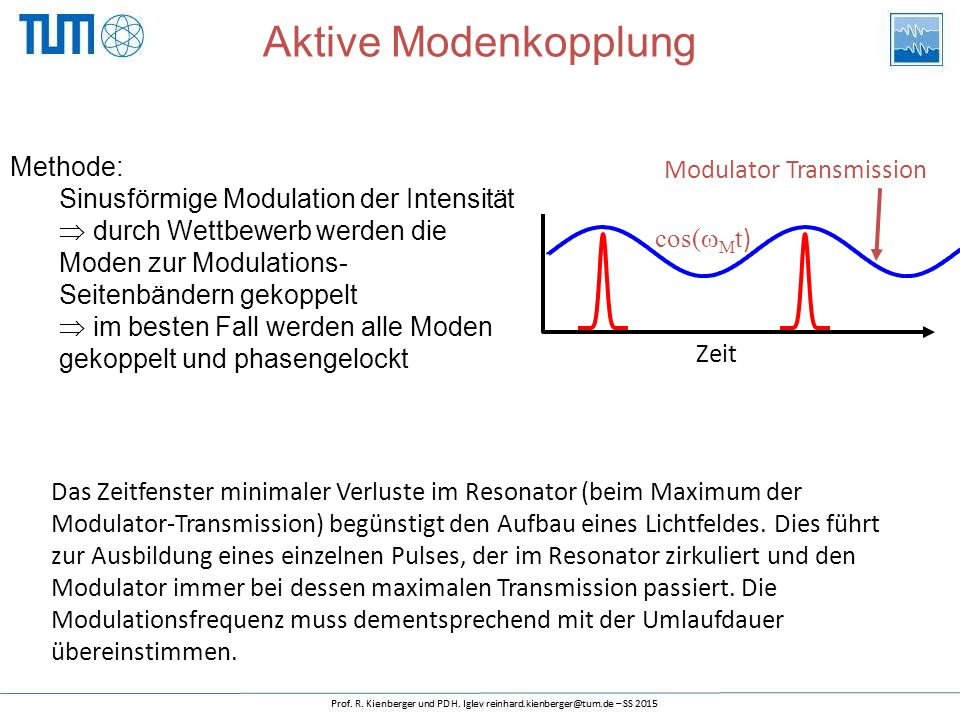 Methode: Sinusförmige Modulation der Intensität  durch Wettbewerb werden die Moden zur Modulations- Seitenbändern gekoppelt  im besten Fall werden a