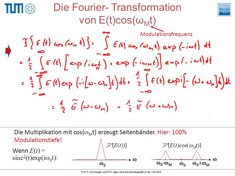 Wenn E(t) = sinc 2 (t)exp(i  0 t): Die Multiplikation mit cos(  M t) erzeugt Seitenbänder.