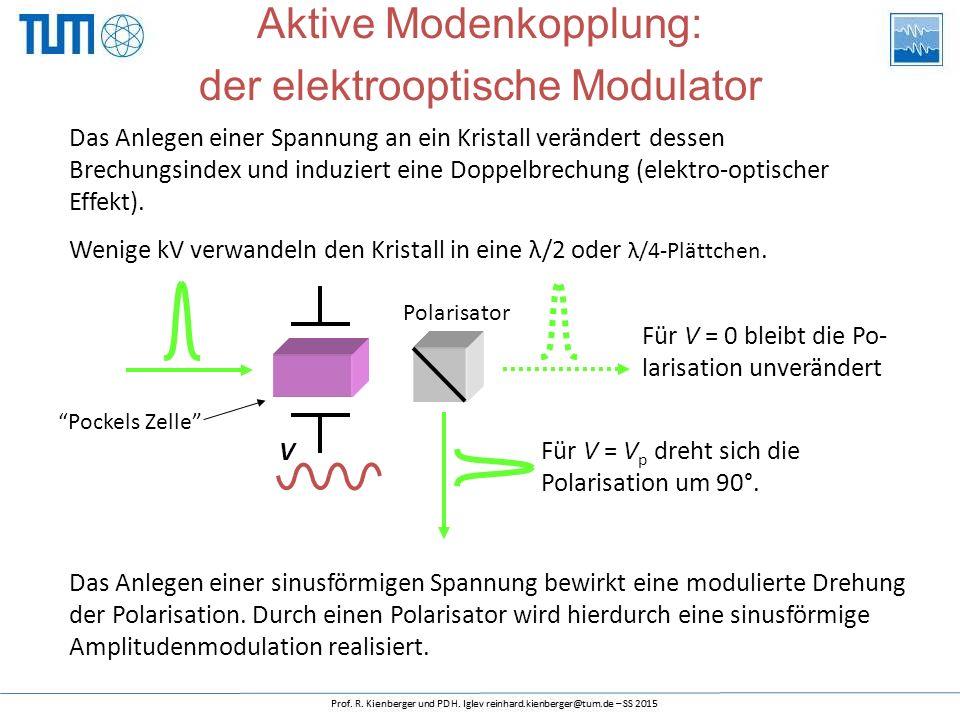 Das Anlegen einer Spannung an ein Kristall verändert dessen Brechungsindex und induziert eine Doppelbrechung (elektro-optischer Effekt).