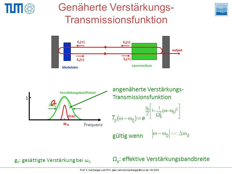 Frequenz 1 Verstärkungskoeffizient  g E   angenäherte Verstärkungs- Transmissionsfunktion gültig wenn Ω g : effektive Verstärkungsbandbreite Genäherte Verstärkungs- TransmissionsfunktionModulator Lasermedium output E2()E2()E2()E2() E1()E1()E1()E1() E3()E3()E3()E3() E2()E2()E2()E2() g 0 : gesättigte Verstärkung bei ω 0