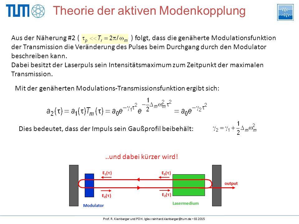 Aus der Näherung #2 ( ) folgt, dass die genäherte Modulationsfunktion der Transmission die Veränderung des Pulses beim Durchgang durch den Modulator b