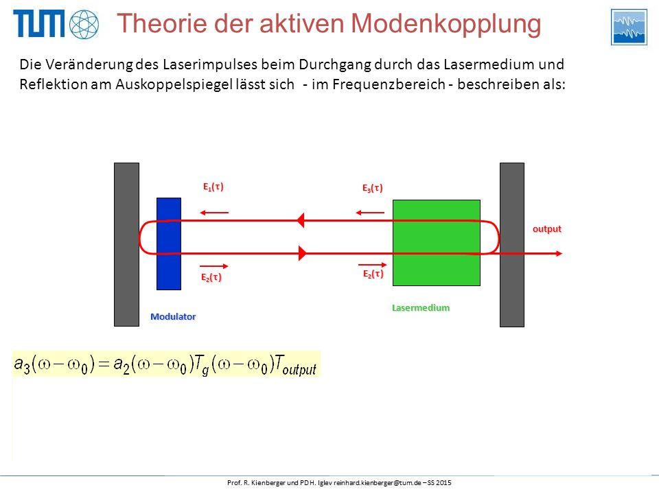 Die Veränderung des Laserimpulses beim Durchgang durch das Lasermedium und Reflektion am Auskoppelspiegel lässt sich - im Frequenzbereich - beschreiben als: Theorie der aktiven Modenkopplung Modulator Lasermedium output E2()E2()E2()E2() E1()E1()E1()E1() E3()E3()E3()E3() E2()E2()E2()E2()
