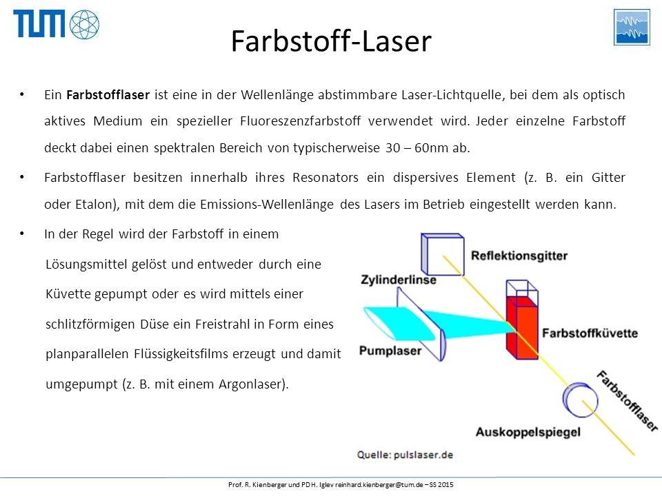 Farbstoff-Laser Ein Farbstofflaser ist eine in der Wellenlänge abstimmbare Laser-Lichtquelle, bei dem als optisch aktives Medium ein spezieller Fluore