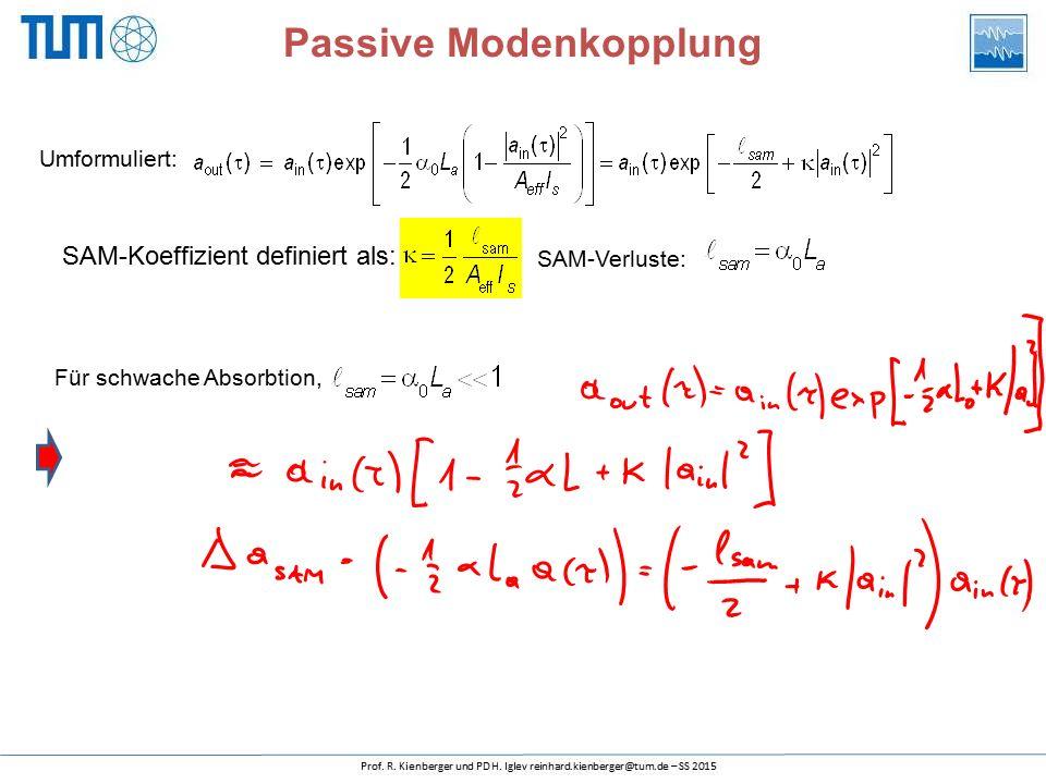 Passive Modenkopplung Für schwache Absorbtion, SAM-Koeffizient definiert als: Umformuliert: SAM-Verluste: