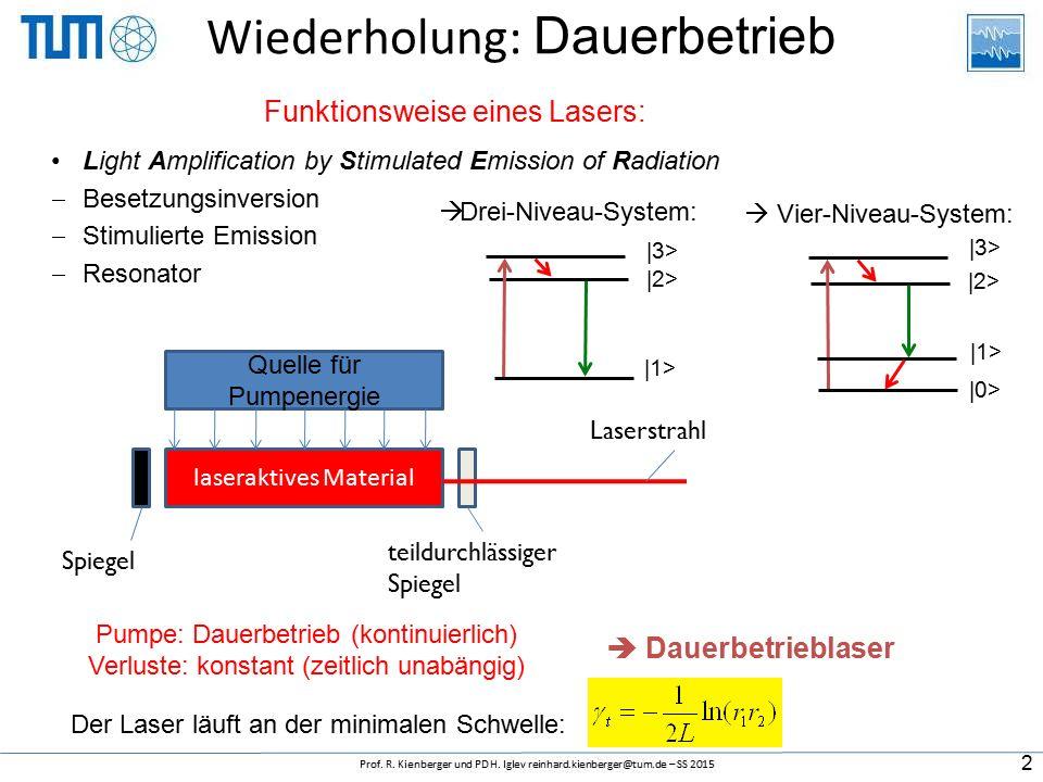 Wiederholung: Dauerbetrieb Funktionsweise eines Lasers: Light Amplification by Stimulated Emission of Radiation  Besetzungsinversion  Stimulierte Emission  Resonator laseraktives Material Quelle für Pumpenergie Spiegel teildurchlässiger Spiegel Laserstrahl Pumpe: Dauerbetrieb (kontinuierlich) Verluste: konstant (zeitlich unabängig)  Dauerbetrieblaser Der Laser läuft an der minimalen Schwelle:  Drei-Niveau-System: |3> |2> |1>  Vier-Niveau-System: |3> |2> |1> |0> 2