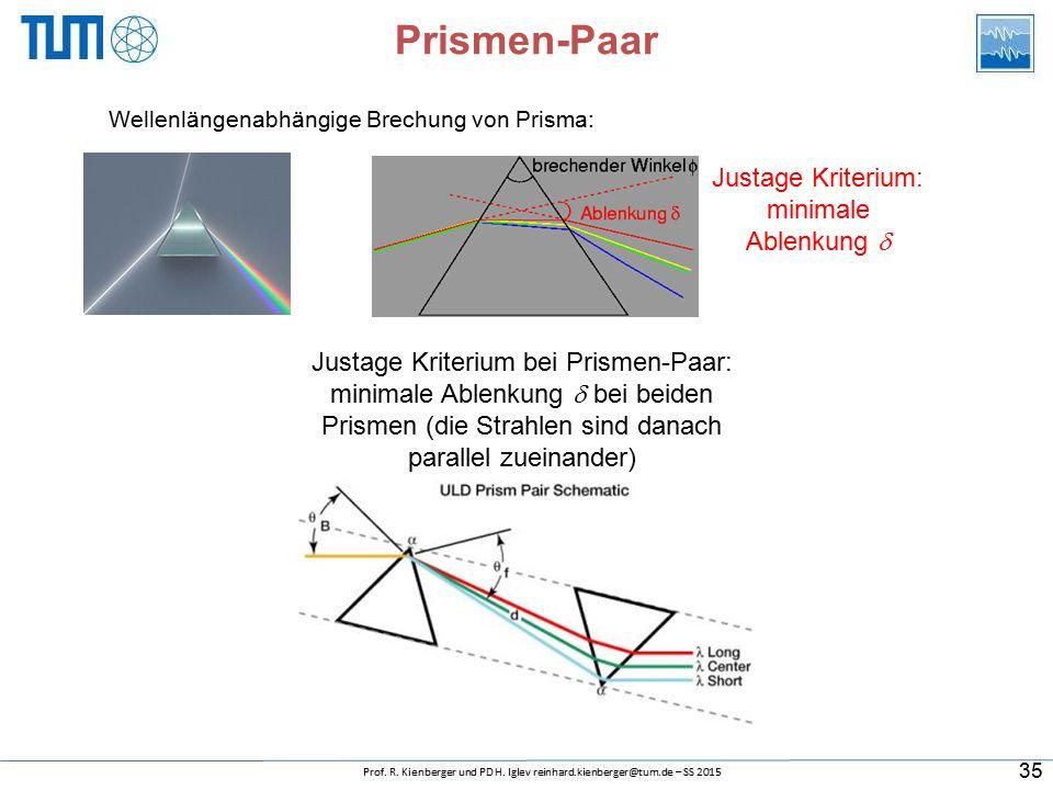 Prismen-Paar Wellenlängenabhängige Brechung von Prisma: Justage Kriterium: minimale Ablenkung  Justage Kriterium bei Prismen-Paar: minimale Ablenkung  bei beiden Prismen (die Strahlen sind danach parallel zueinander) 35