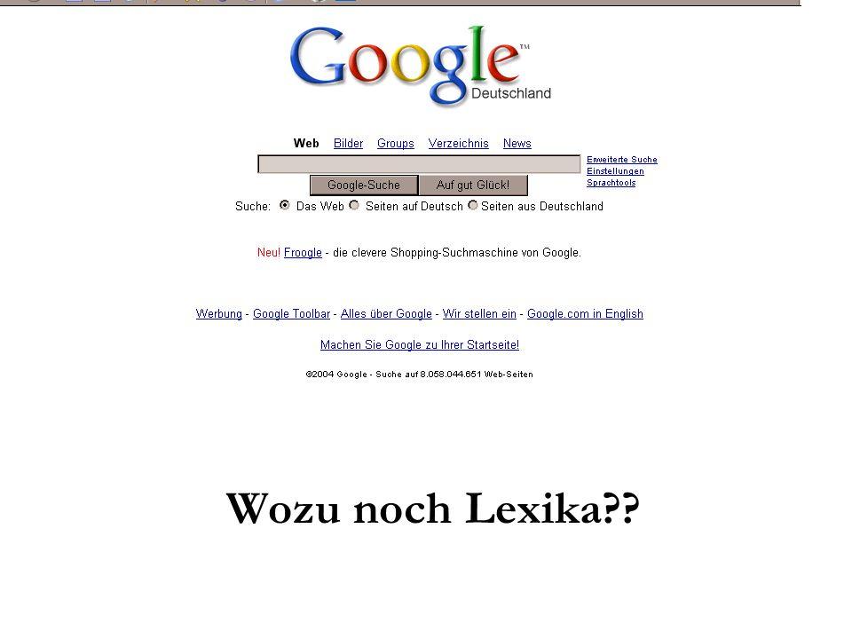 Gliederung Ziel der Veranstaltung Begriff und Funktion von Lexika Historisches Qualitätsmerkmale von Lexika Ausgewählte Lexika und Enzyklopädien Wikipedia als online-Lexikon