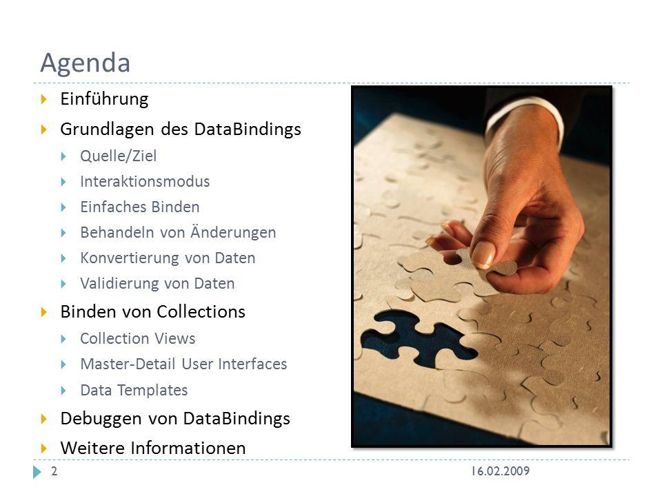 Agenda  Einführung  Grundlagen des DataBindings  Quelle/Ziel  Interaktionsmodus  Einfaches Binden  Behandeln von Änderungen  Konvertierung von Daten  Validierung von Daten  Binden von Collections  Collection Views  Master-Detail User Interfaces  Data Templates  Debuggen von DataBindings  Weitere Informationen 16.02.20092