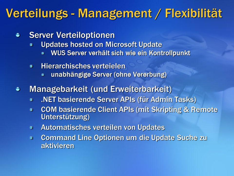 Verteilungs - Management / Flexibilität Server Verteiloptionen Updates hosted on Microsoft Update WUS Server verhält sich wie ein Kontrollpunkt Hierarchisches verteielen unabhängige Server (ohne Vererbung) Managebarkeit (und Erweiterbarkeit).NET basierende Server APIs (für Admin Tasks) COM basierende Client APIs (mit Skripting & Remote Unterstützung) Automatisches verteilen von Updates Command Line Optionen um die Update Suche zu aktivieren