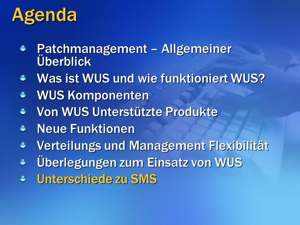 Agenda Patchmanagement – Allgemeiner Überblick Was ist WUS und wie funktioniert WUS.