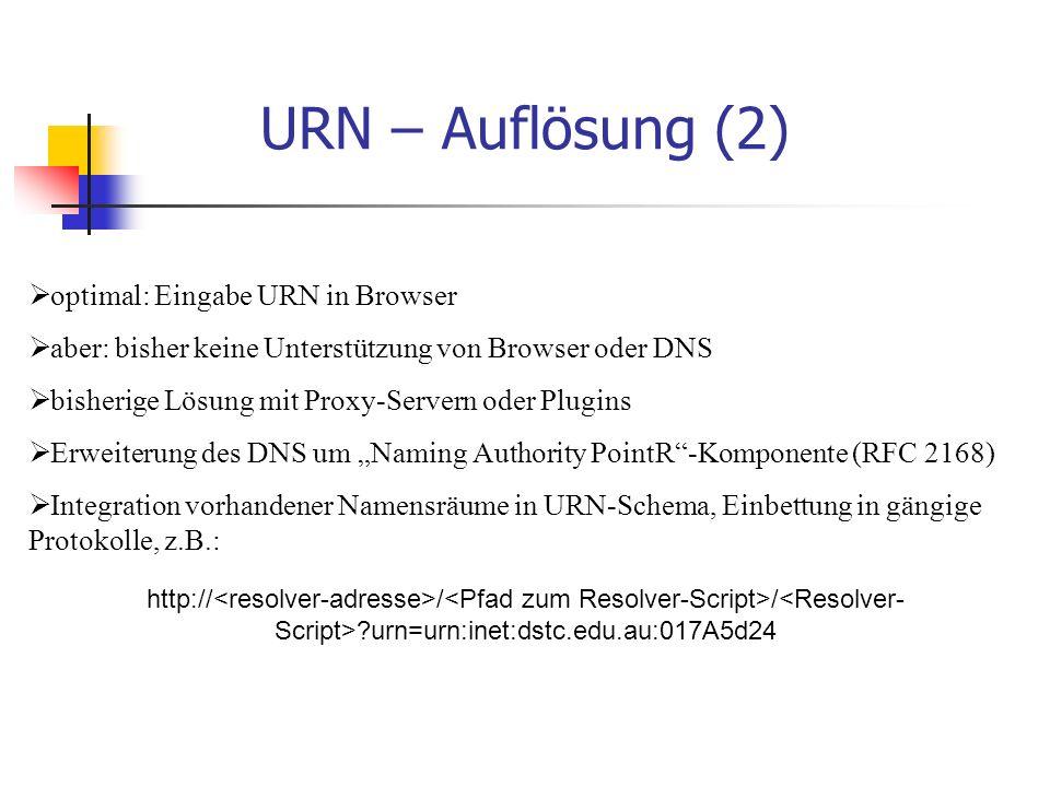 """URN – Auflösung (2)  optimal: Eingabe URN in Browser  aber: bisher keine Unterstützung von Browser oder DNS  bisherige Lösung mit Proxy-Servern oder Plugins  Erweiterung des DNS um """"Naming Authority PointR -Komponente (RFC 2168)  Integration vorhandener Namensräume in URN-Schema, Einbettung in gängige Protokolle, z.B.: http:// / / urn=urn:inet:dstc.edu.au:017A5d24"""