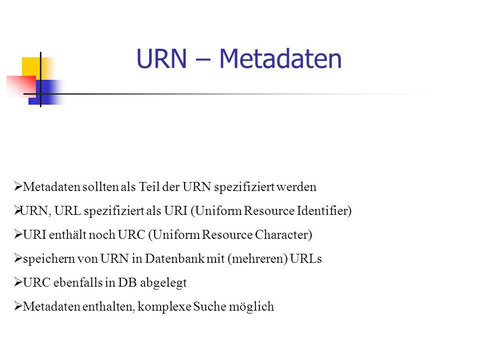 URN – Metadaten  Metadaten sollten als Teil der URN spezifiziert werden  URN, URL spezifiziert als URI (Uniform Resource Identifier)  URI enthält noch URC (Uniform Resource Character)  speichern von URN in Datenbank mit (mehreren) URLs  URC ebenfalls in DB abgelegt  Metadaten enthalten, komplexe Suche möglich