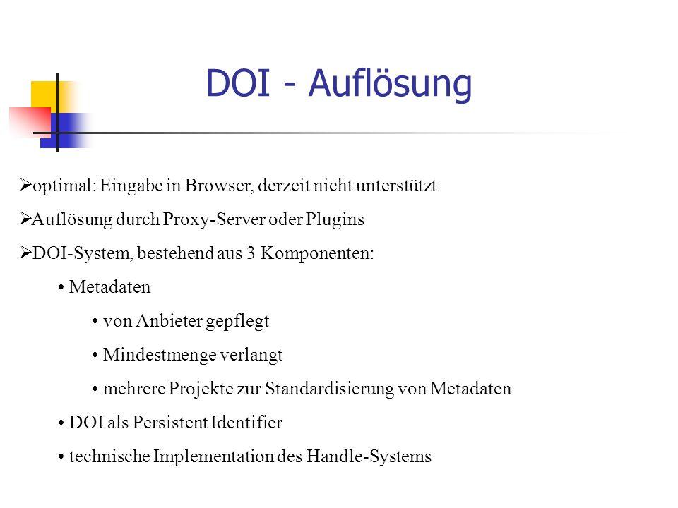 DOI - Auflösung  optimal: Eingabe in Browser, derzeit nicht unterstützt  Auflösung durch Proxy-Server oder Plugins  DOI-System, bestehend aus 3 Komponenten: Metadaten von Anbieter gepflegt Mindestmenge verlangt mehrere Projekte zur Standardisierung von Metadaten DOI als Persistent Identifier technische Implementation des Handle-Systems