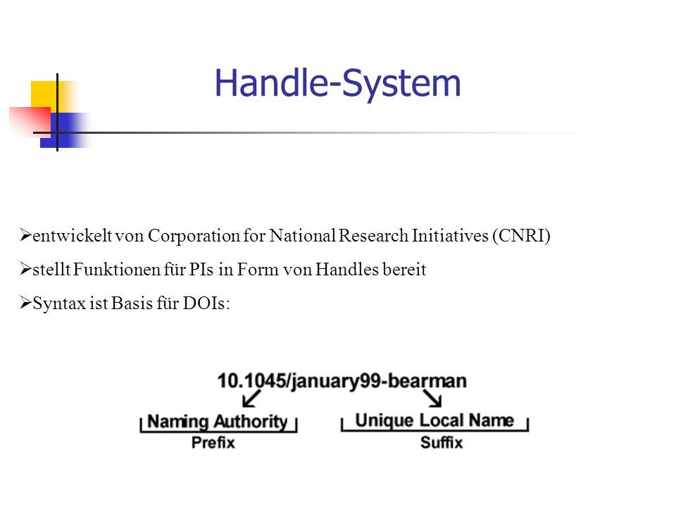 Handle-System  entwickelt von Corporation for National Research Initiatives (CNRI)  stellt Funktionen für PIs in Form von Handles bereit  Syntax ist Basis für DOIs: