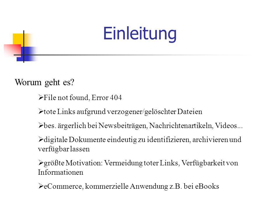 Einleitung  File not found, Error 404  tote Links aufgrund verzogener/gelöschter Dateien  bes.