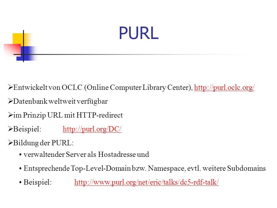 PURL  Entwickelt von OCLC (Online Computer Library Center), http://purl.oclc.org/http://purl.oclc.org/  Datenbank weltweit verfügbar  im Prinzip URL mit HTTP-redirect  Beispiel: http://purl.org/DC/http://purl.org/DC/  Bildung der PURL: verwaltender Server als Hostadresse und Entsprechende Top-Level-Domain bzw.