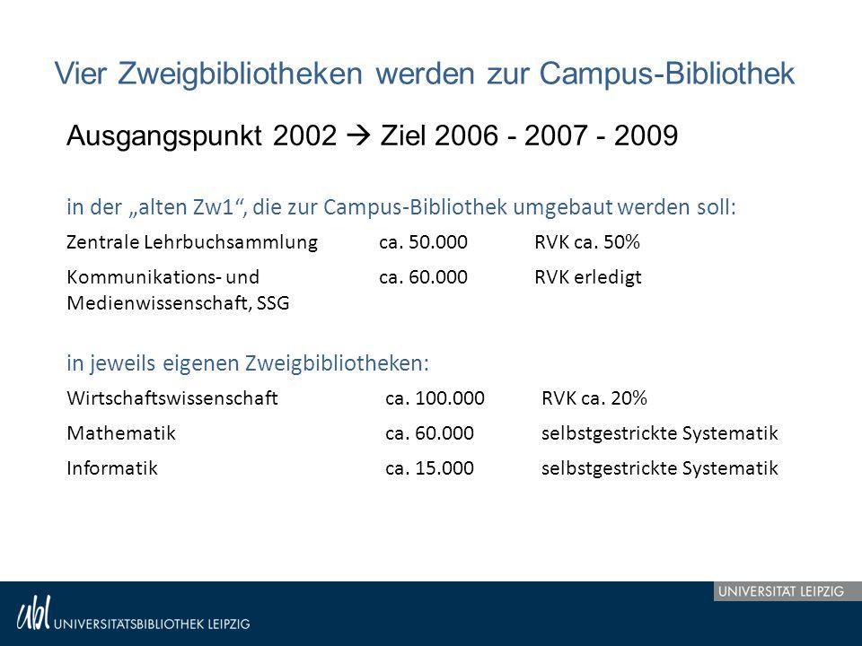 """Vier Zweigbibliotheken werden zur Campus-Bibliothek Ausgangspunkt 2002  Ziel 2006 - 2007 - 2009 in der """"alten Zw1"""", die zur Campus-Bibliothek umgebau"""