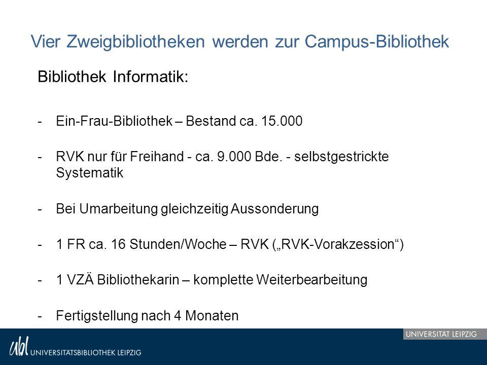Vier Zweigbibliotheken werden zur Campus-Bibliothek Bibliothek Informatik: -Ein-Frau-Bibliothek – Bestand ca. 15.000 -RVK nur für Freihand - ca. 9.000