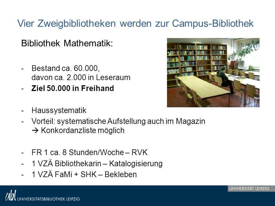 Vier Zweigbibliotheken werden zur Campus-Bibliothek Bibliothek Mathematik: -Bestand ca. 60.000, davon ca. 2.000 in Leseraum -Ziel 50.000 in Freihand -