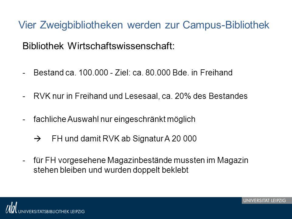 Vier Zweigbibliotheken werden zur Campus-Bibliothek Bibliothek Wirtschaftswissenschaft: -Bestand ca. 100.000 - Ziel: ca. 80.000 Bde. in Freihand -RVK