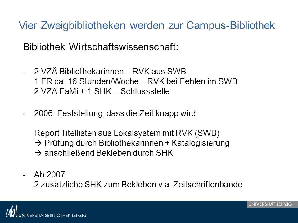 Vier Zweigbibliotheken werden zur Campus-Bibliothek Bibliothek Wirtschaftswissenschaft: -2 VZÄ Bibliothekarinnen – RVK aus SWB 1 FR ca. 16 Stunden/Woc