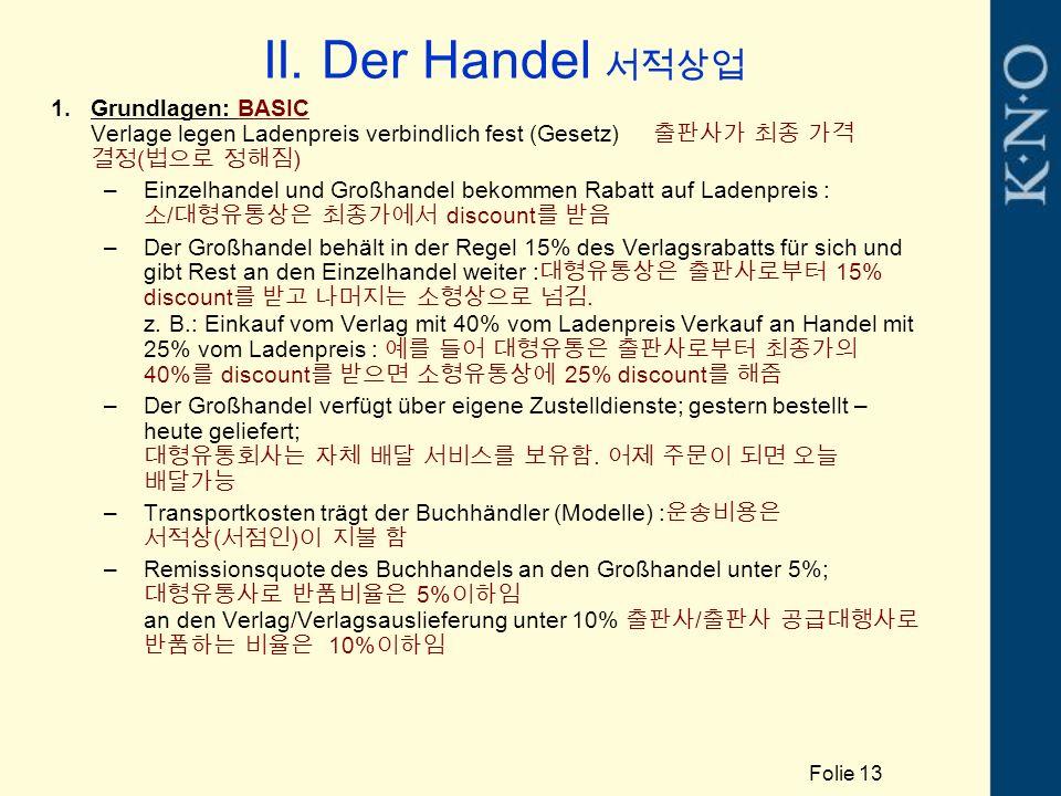 II. Der Handel 서적상업 1.Grundlagen: BASIC Verlage legen Ladenpreis verbindlich fest (Gesetz) 출판사가 최종 가격 결정 ( 법으로 정해짐 ) –Einzelhandel und Großhandel beko