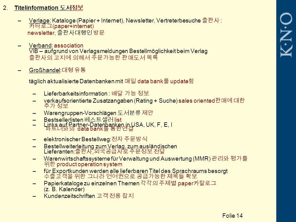 2.Titelinformation 도서정보 –Verlage: Kataloge (Papier + Internet), Newsletter, Vertreterbesuche 출판사 : 카타로그 (paper+internet) newsletter, 출판사대행인 방문 –Verband: association VlB – aufgrund von Verlagsmeldungen Bestellmöglichkeit beim Verlag 출판사의 고지에 의해서 주문가능한 판매도서 목록 –Großhandel: 대형 유통 täglich aktualisierte Datenbanken mit 매일 data bank 를 update 함 –Lieferbarkeitsinformation : 배달 가능 정보 –verkaufsorientierte Zusatzangaben (Rating + Suche) sales oriented 판매에 대한 추가 정보 –Warengruppen-Vorschlägen 도서분류 제안 –Bestsellerlisten 베스트셀러 list –Links auf Partner-Datenbanken in USA, UK, F, E, I 파트너와의 data bank 를 통한연결 –elektronischer Bestellweg: 전자 주문방식 –Bestellweiterleitung zum Verlag, zum ausländischen Lieferanten: 출판사, 외국공급사로 주문정보 전달 –Warenwirtschaftssysteme für Verwaltung und Auswertung (MMR) 관리와 평가를 위한 product operation system –für Exportkunden werden alle lieferbaren Titel des Sprachraums besorgt 수출고객을 위한 그나라 언어권으로 공급가능한 제목들 확보 –Papierkataloge zu einzelnen Themen 각각의 주제별 paper 카탈로그 (z.