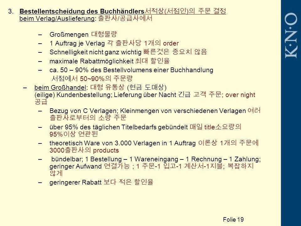 3.Bestellentscheidung des Buchhändlers 서적상 ( 서점인 ) 의 주문 결정 beim Verlag/Auslieferung: 출판사 / 공급사에서 –Großmengen 대형물량 –1 Auftrag je Verlag 각 출판사당 1 개의 order –Schnelligkeit nicht ganz wichtig 빠른것은 중요치 않음 –maximale Rabattmöglichkeit 최대 할인율 –ca.