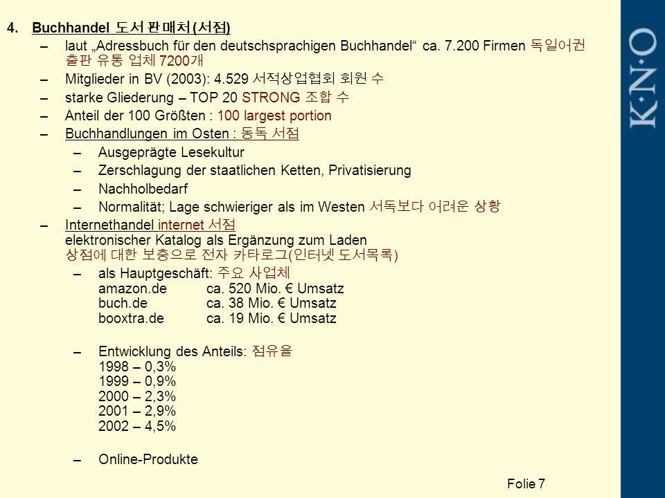 """4.Buchhandel 도서 판매처 ( 서점 ) –laut """"Adressbuch für den deutschsprachigen Buchhandel"""" ca. 7.200 Firmen 독일어권 출판 유통 업체 7200 개 –Mitglieder in BV (2003): 4.5"""