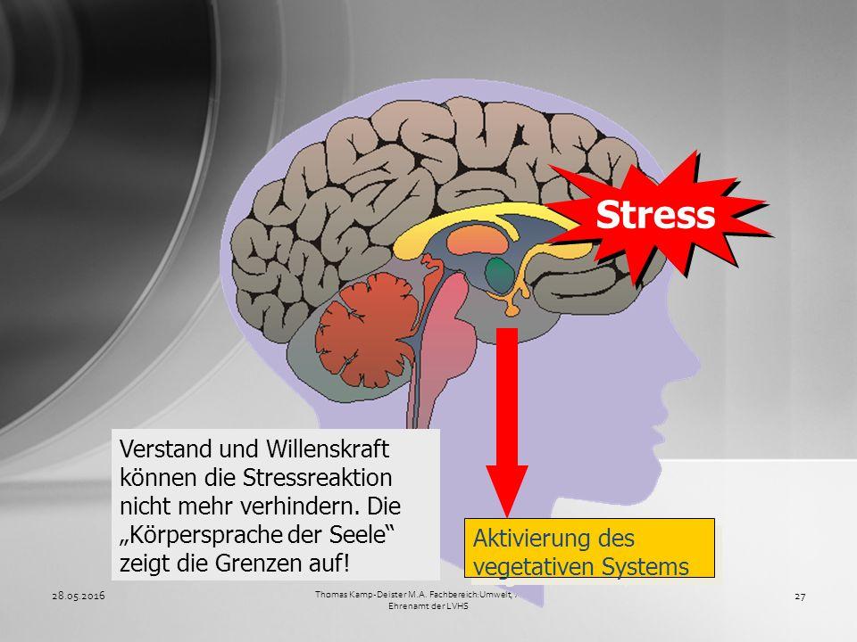 28.05.201627 Thomas Kamp-Deister M.A. Fachbereich:Umwelt, Arbeit, Ehrenamt der LVHS Verstand und Willenskraft können die Stressreaktion nicht mehr ver