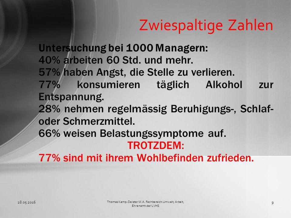 Untersuchung bei 1000 Managern: 40% arbeiten 60 Std. und mehr. 57% haben Angst, die Stelle zu verlieren. 77% konsumieren täglich Alkohol zur Entspannu