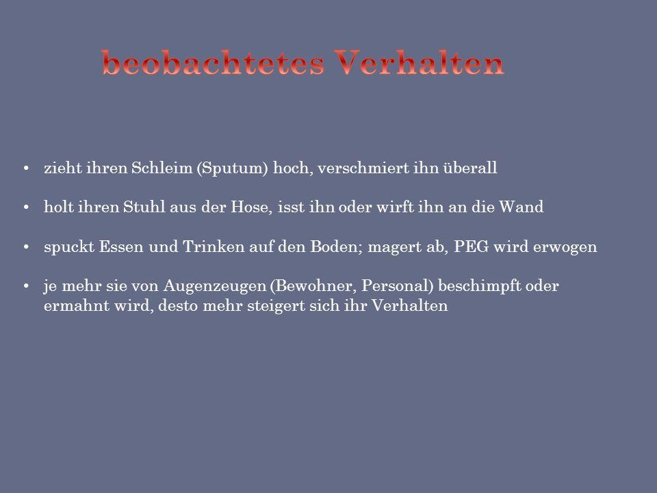 geboren 1929 in Löwenberg / Schlesien Diagnose: mittelschwere Demenz Medikamente: Axura, Risperidon Interaktionsstufe 4,7 Seelennahrungsmangel: Fremdw
