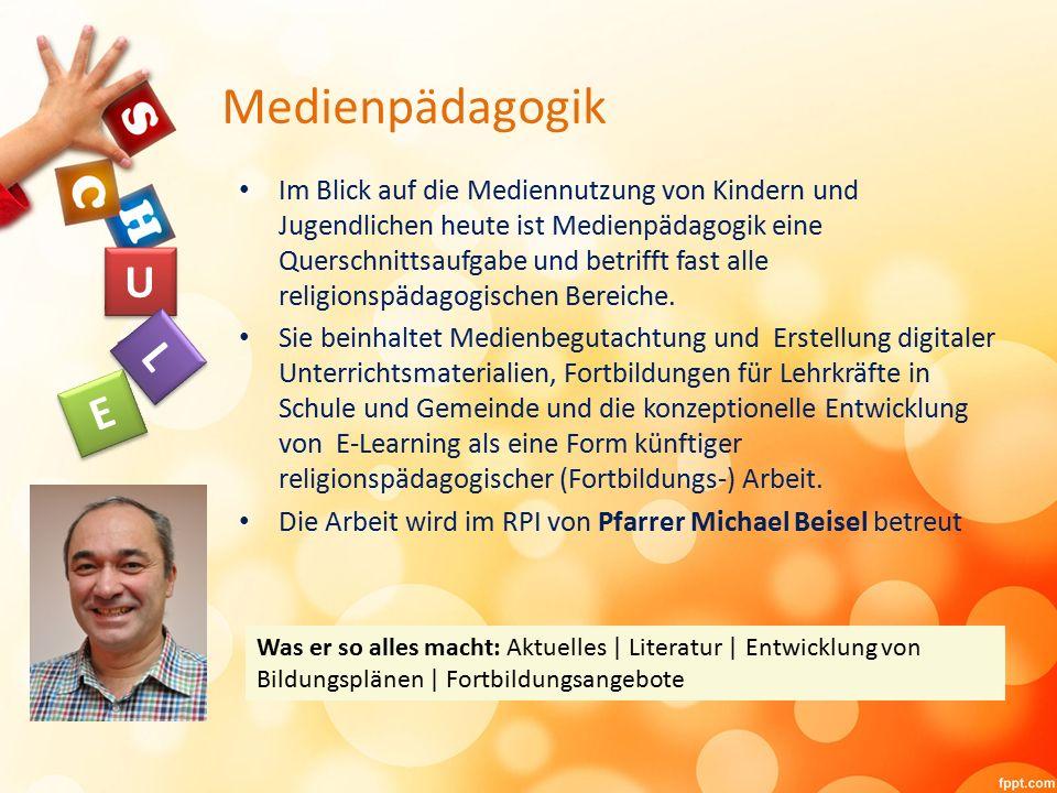 Medienpädagogik Im Blick auf die Mediennutzung von Kindern und Jugendlichen heute ist Medienpädagogik eine Querschnittsaufgabe und betrifft fast alle religionspädagogischen Bereiche.