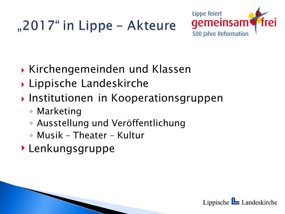  Kirchengemeinden und Klassen  Lippische Landeskirche  Institutionen in Kooperationsgruppen ◦ Marketing ◦ Ausstellung und Veröffentlichung ◦ Musik